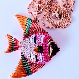 NEW! VIBRANT CRYSTAL/ENAMEL FISH SWEATER NECKLACE